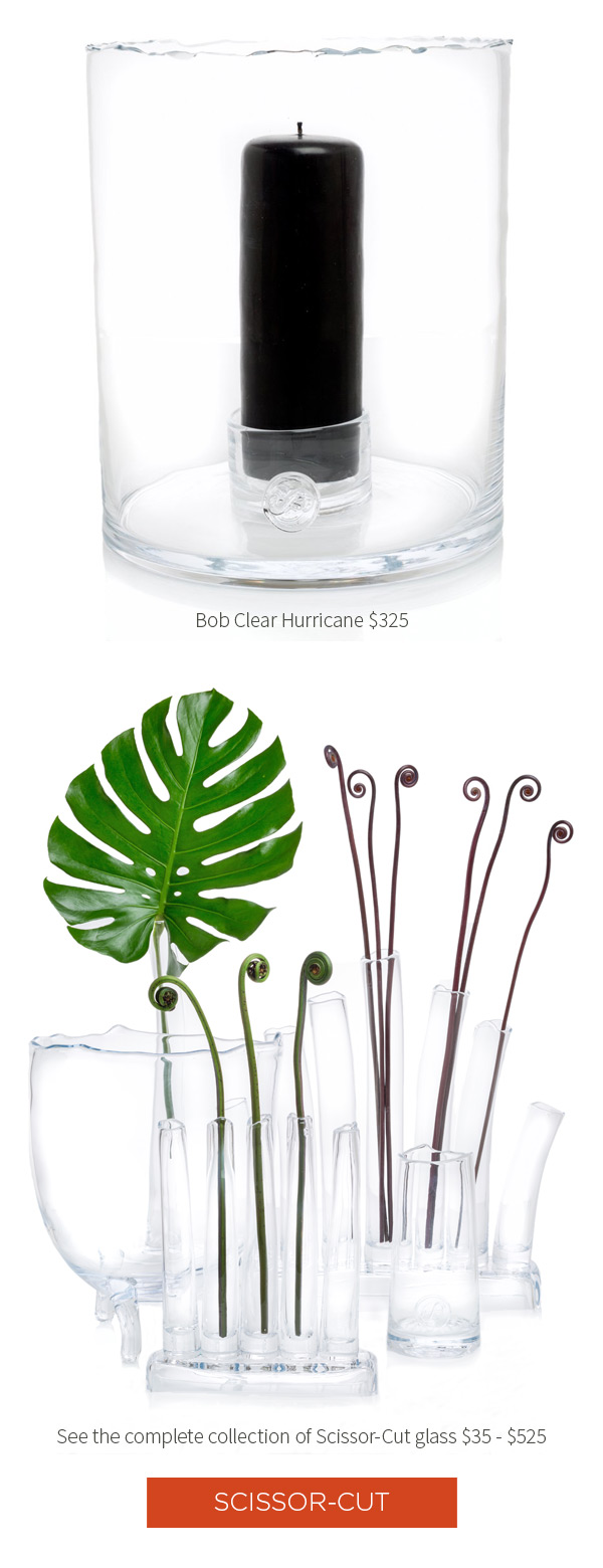 Zion Punchbowl $195 .?Romeo Carafe $140 .?Bob Clear Hurricane $325 .?See the complete collection of Scissor-Cut glass $35 - $525