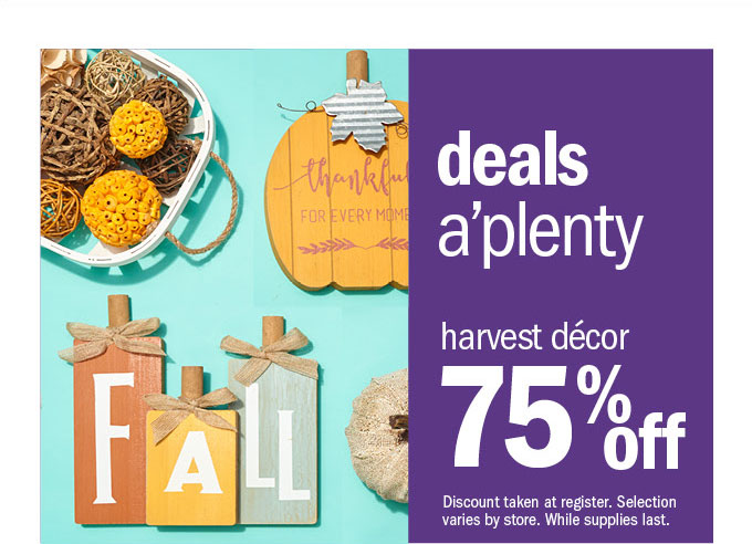 Deals a'plenty harvest décor 75% off