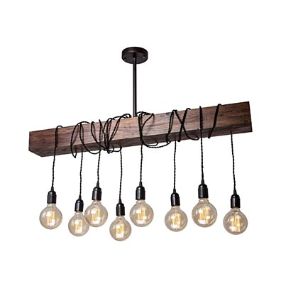 Farmhouse 8-Light Wood Beam Chandelier Pendant Light,Bronze