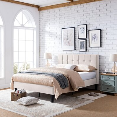 Yvonne Fully-Upholstered Queen-Size Platform Bed Frame, Modern, Contemporary, Low-Profile