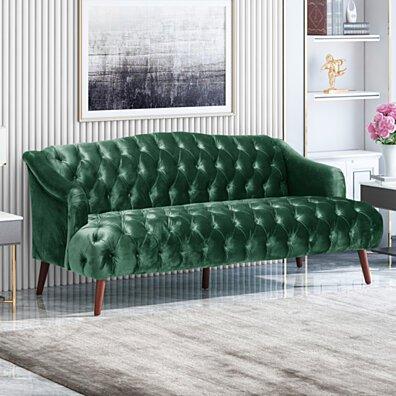 Esther Modern Glam Tufted Velvet 3 Seater Sofa