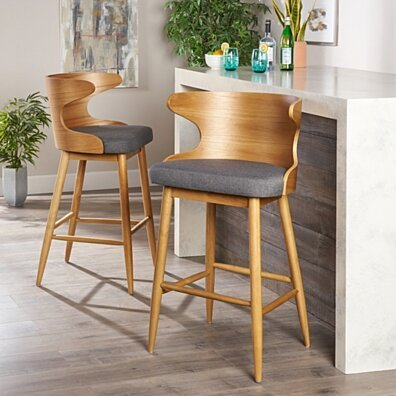 Truda Mid-Century Modern Upholstered Barstools (Set of 2)