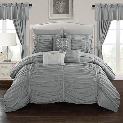 Gruyeres 20 Piece Comforter Set Ruffled Ruched Designer Bedding