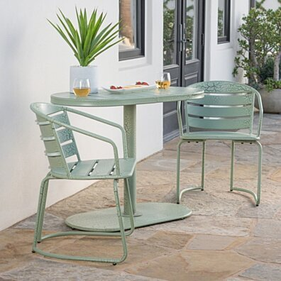 Porto Outdoor 3 Piece Crackle Finished Iron Bistro Set