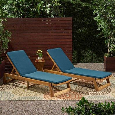 Belinda Outdoor Fabric Chaise Lounge Cushion (Set of 2)