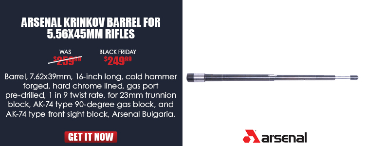 Barrel, 7.62x39mm, 16-inch long, for 23mm (.906) trunnion, for AK-74 type FSB, hammer forged, chrome