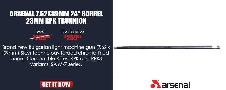 Barrel, 7.62x39mm, 24-inch long, for 23mm (.906) trunnion, hammer forged, chrome lined