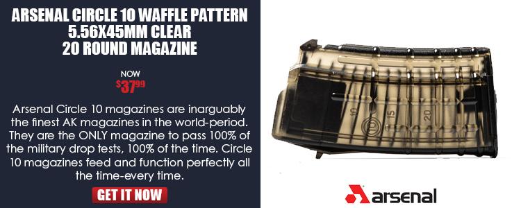 Magazine, 5.56x45, 20rd, circle ((10)), waffle pattern, clear reinforced polymer, Arsenal Bg