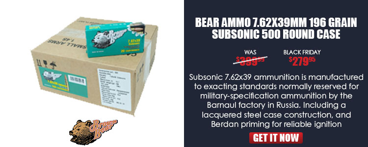 Bear Ammo 7.62x39mm 196 Grain Subsonic 500 Round Case
