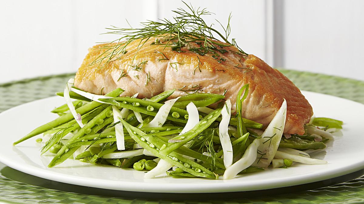 Seared salmon with sugar snap fennel slaw
