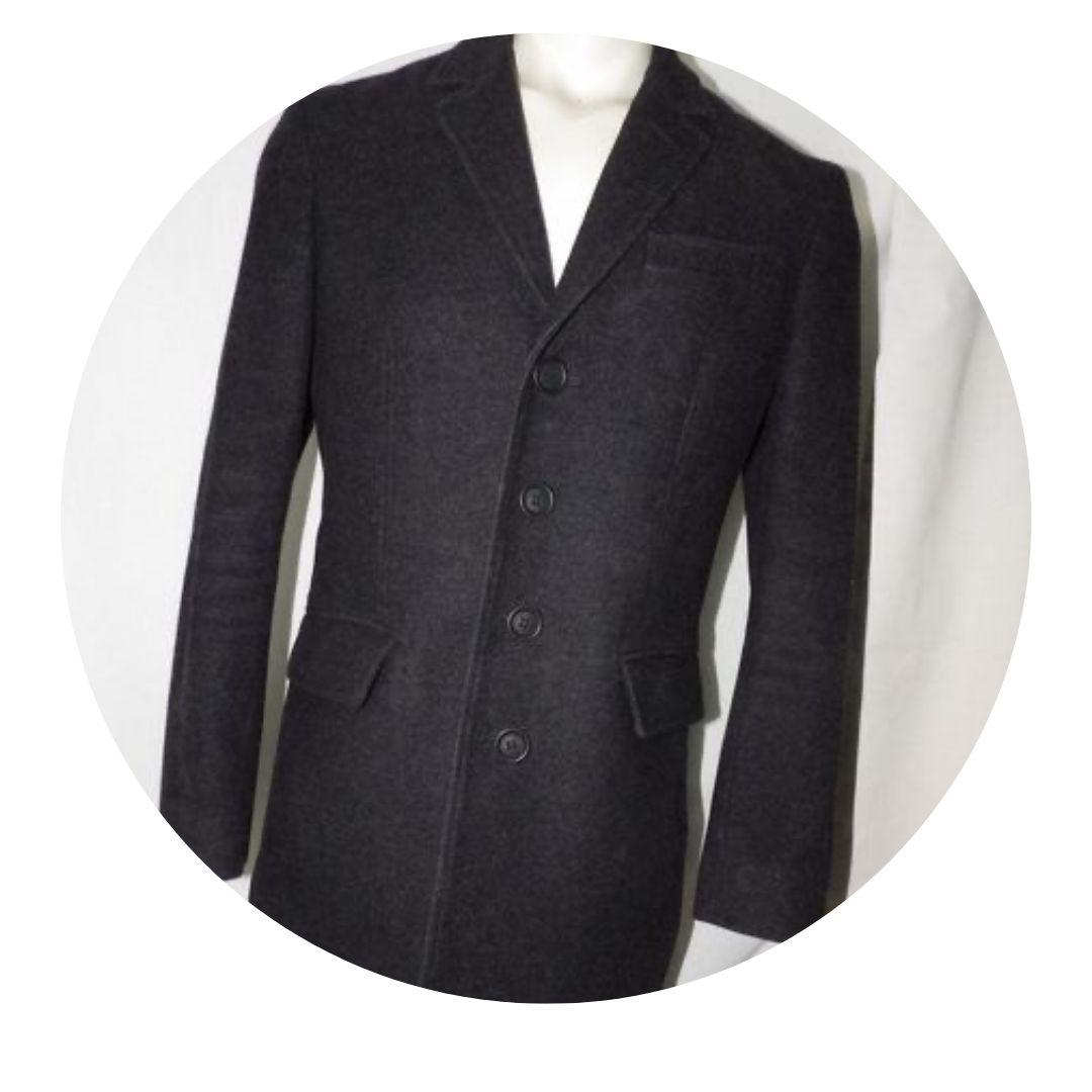 Burberry Brit Men's Long Pea Coat Charcoal