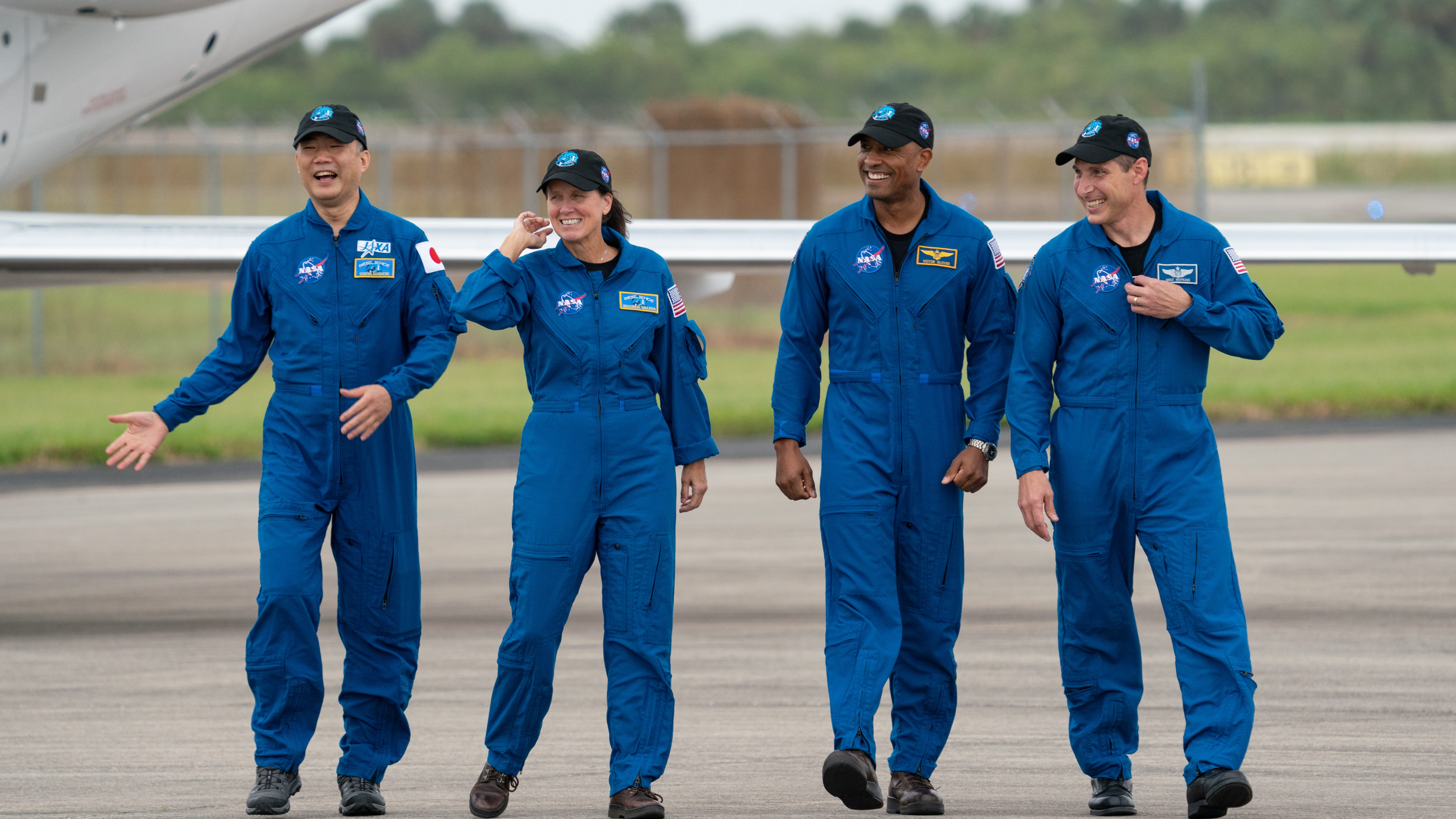 The four-person SpaceX Crew-1 astronaut team arrives at Kennedy Space Center on Sunday, Nov. 8, 2020, ahead of their launch to the International Space Station. A Falcon 9 rocket and Crew Dragon capsule will host their flight.