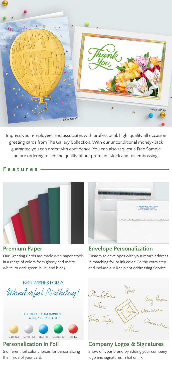 Features: Premium Paper - Envelope Personalization - Personalization in Foil - Add Company Logos & Signatures