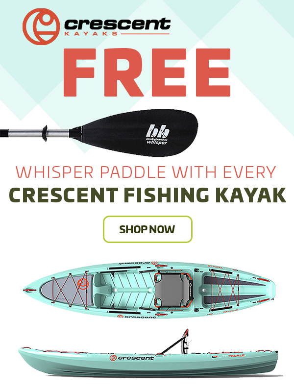Whipser Paddle With Every Crescent Fishing Kayak