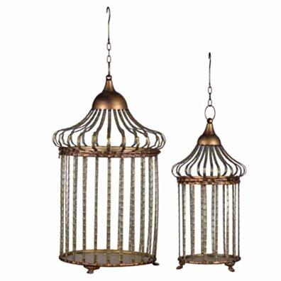 Stylish Hanging Lanterns ,Set of 2, Silver and Brown