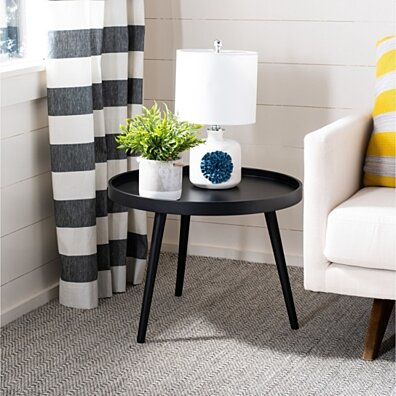 Fritz Round Tray Top Side Table Black
