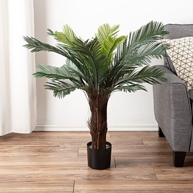 Artificial Cycas Palm Tree- 3-Foot Potted Faux Plant Indoor Outdoor Home Accent Decor