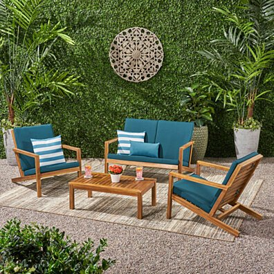 Camryn Outdoor 4 Seater Chat Set with Cushions