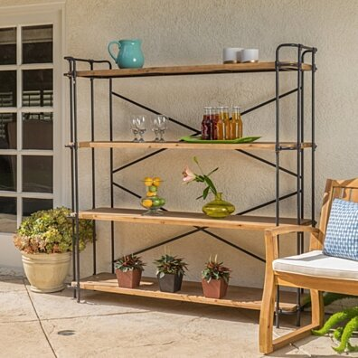 Danielle Outdoor Industrial 4 Shelf Firwood Bookcase