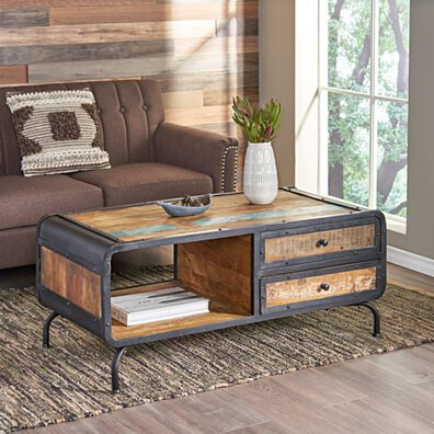 Abby Boho Industrial Recycled Wood TV Stand