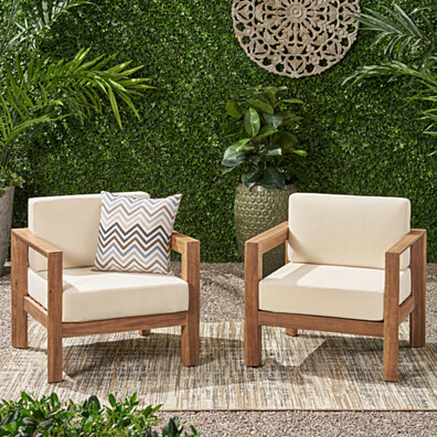Lucia Outdoor Wooden Club Chairs with Cushions (Set of 2)