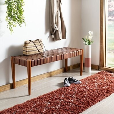 Amalia Leather Weave Bench Cognac / Dark Brown