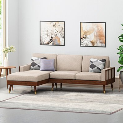 Michelle Fabric 3 Seater Sectional Set with Chaise Lounge