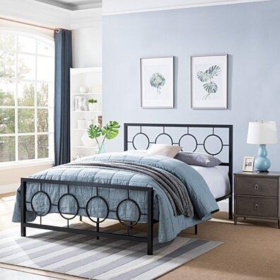 Doris Queen-Size Geometric Platform Bed Frame, Iron, Modern, Low-Profile