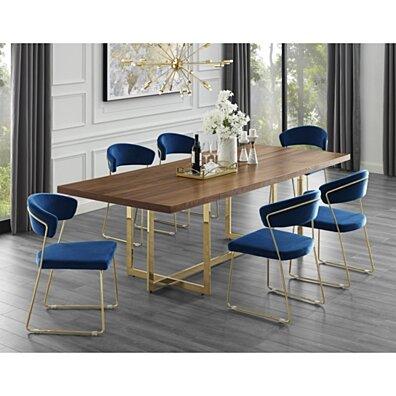 Agustin Wood Veneer Dining Table - Metal Base | Modern Design