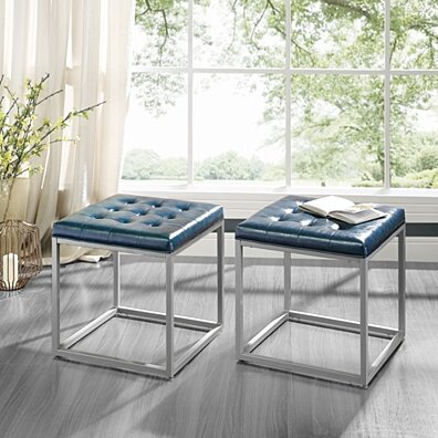 Logan Cube Modern Ottoman with Metal Frame, Leather for Living Room Entryway by Inspired Home