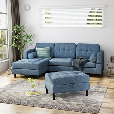 Vita Upholstered Chaise Sectional Sofa Set with Storage Ottoman, 2-Piece 3-Seater