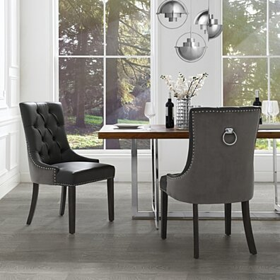 Harry Leather PU / Velvet Dining Chair - Set of 2 | Tufted | Ring Handle | Nailhead Trim by Inspired Home