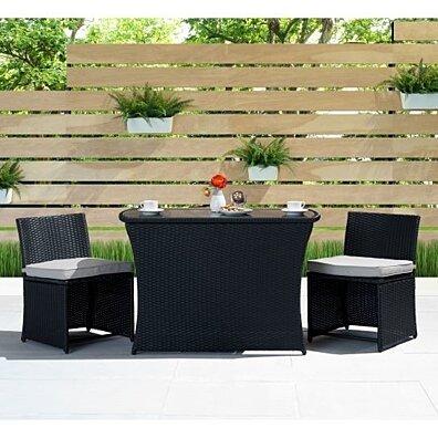 Exum 3 Piece Outdoor Wicker Dining Set