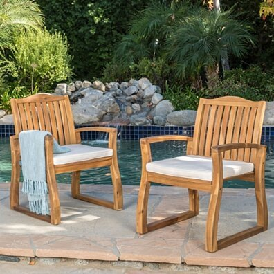 Tampa Teak Finish Acacia Wood Outdoor Patio Dining Chairs Set of 2