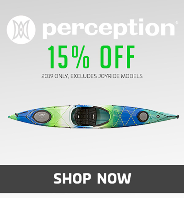 15% Off Perception Kayaks – 2019 Only