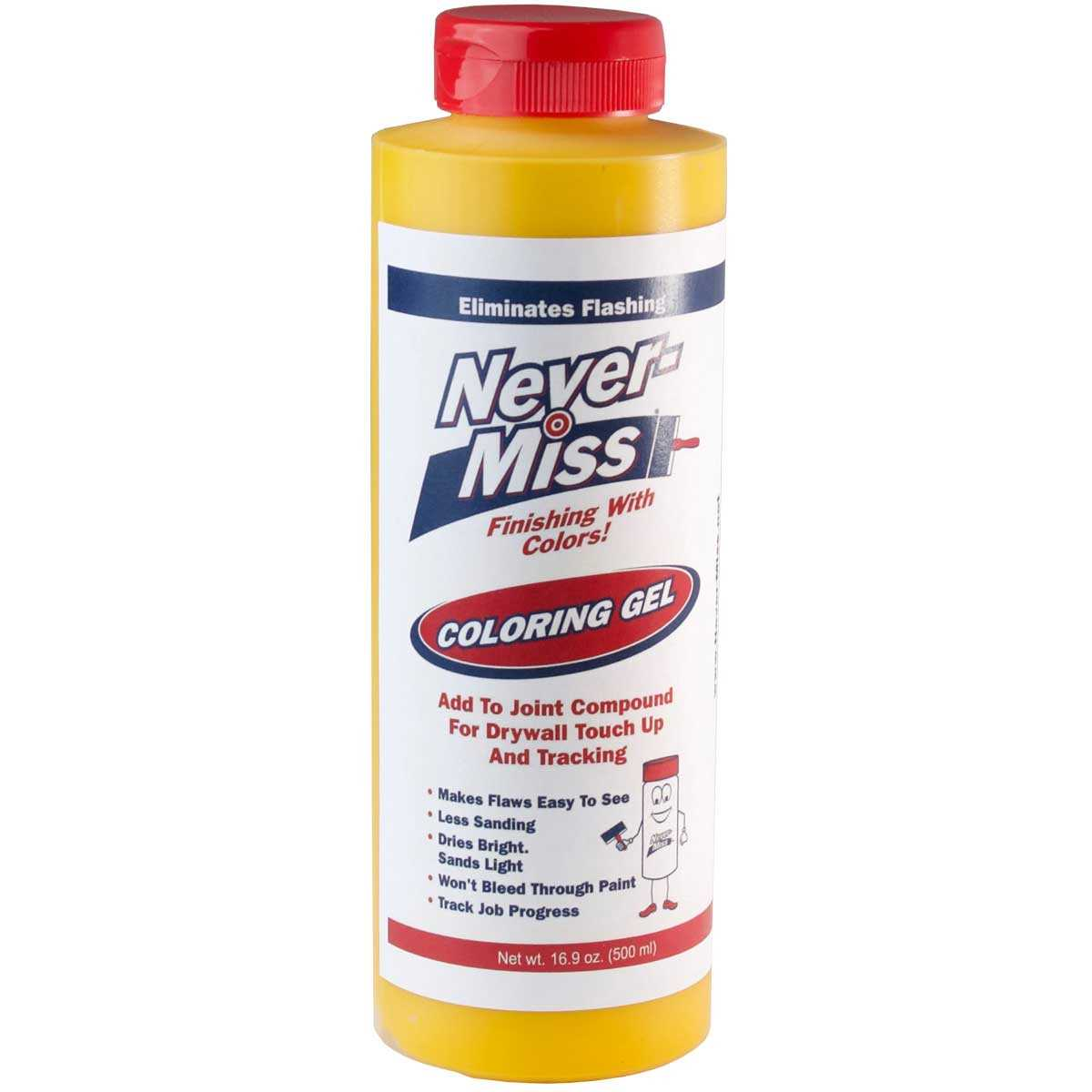 Never-Miss Drywall Mud Tinting Additive - Yellow 16.9oz