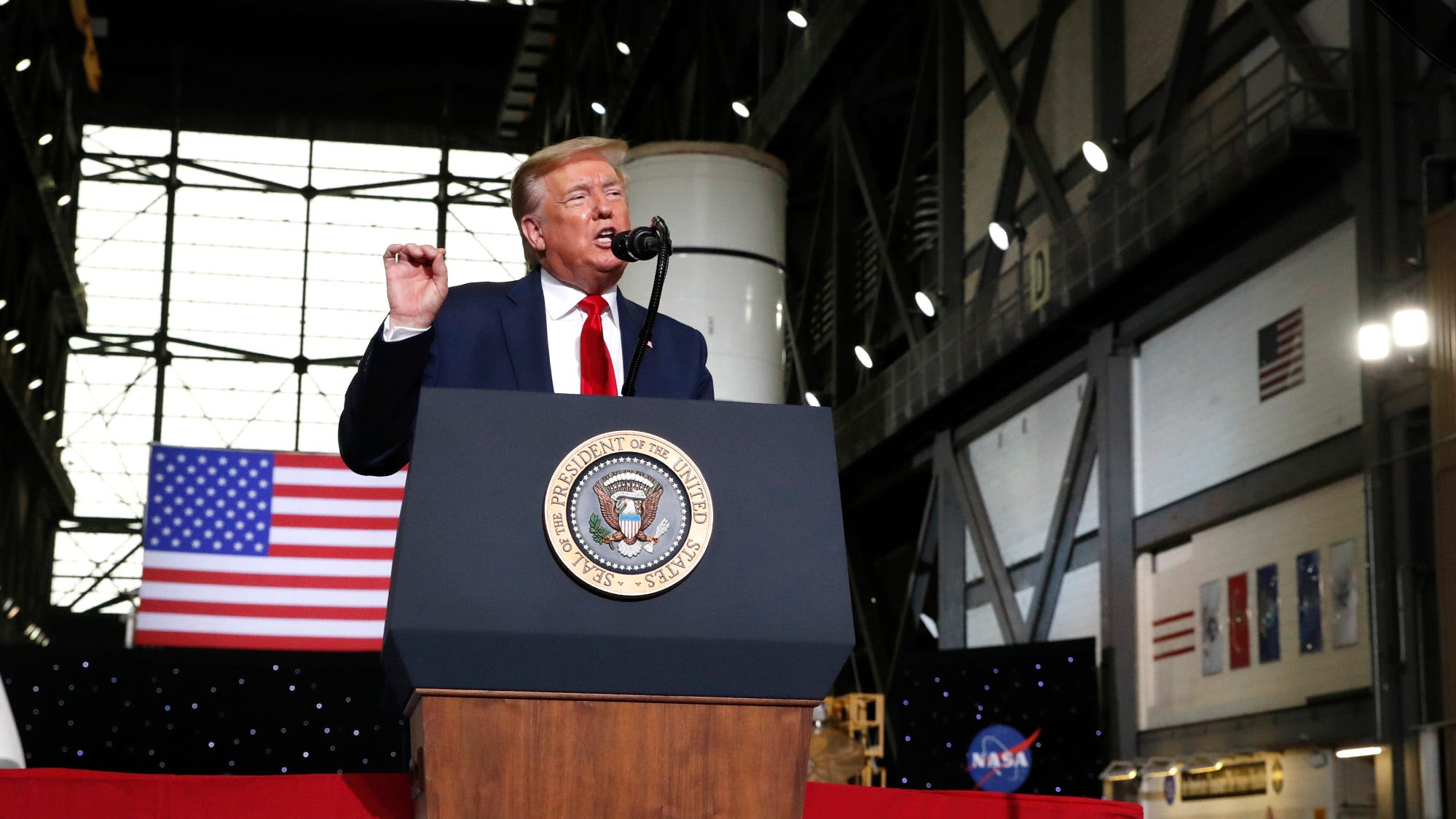 President Donald Trump during a post launch rally