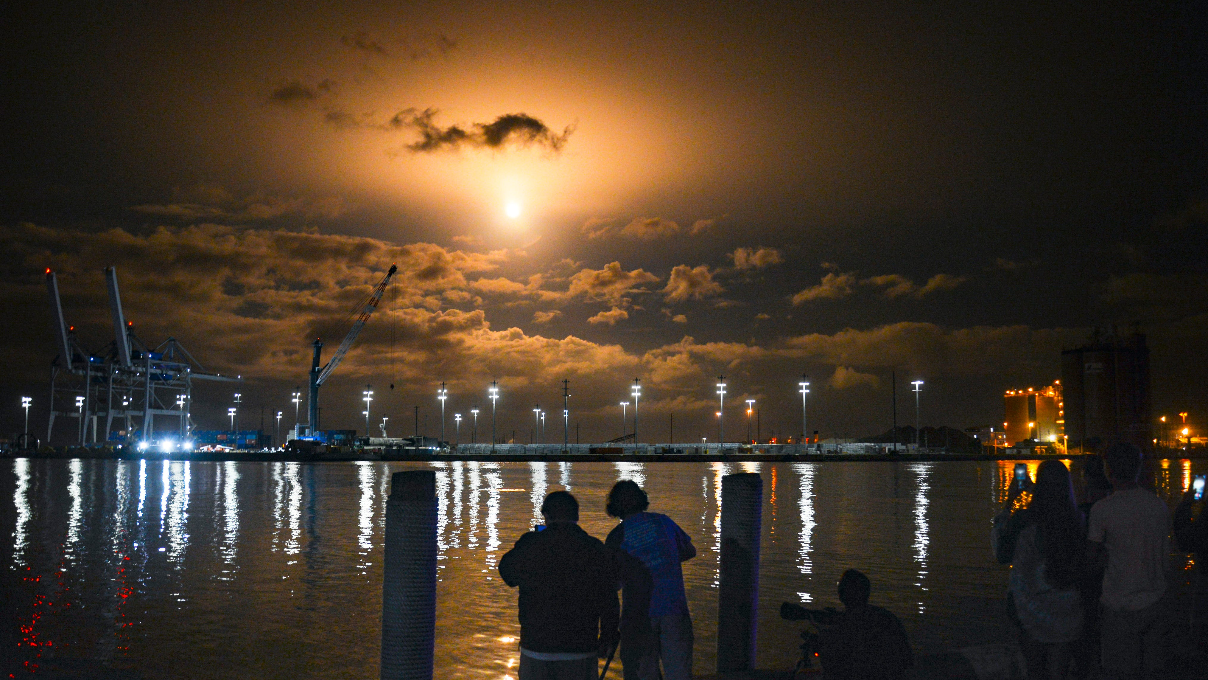 As seen from Port Canaveral: A SpaceX Falcon 9 roc
