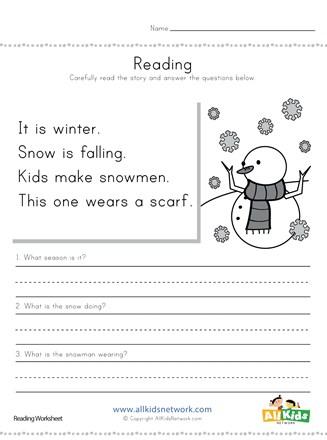 Winter Reading Comprehension Worksheet