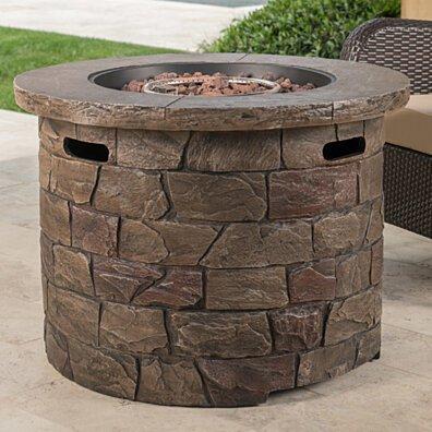Stonecrest Outdoor Stone Finish 40,000 BTU Propane Gas Firepit