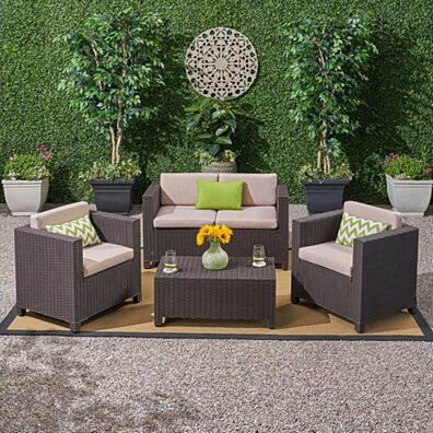 Riley Outdoor All Weather Faux Wicker 4 Seater Chat Set with Cushions