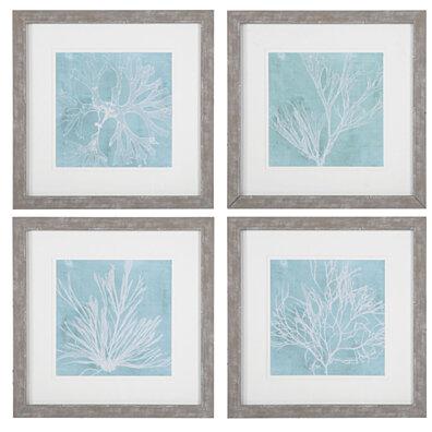Uttermost Seaweed On Aqua Framed Prints S/4