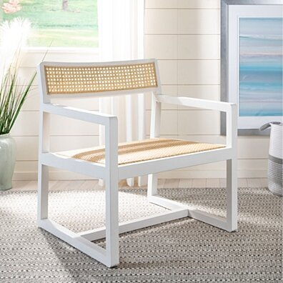 Lula Cane Accent Chair White / Natural