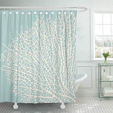 Coastal Coral Branch Nautical Beach Ocean Turquoise Shower Curtain 66x72 inch