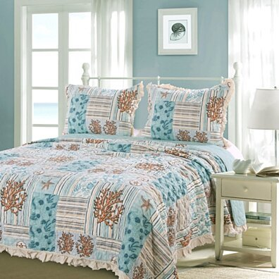 Microfiber Wrapped Sea Life Print Queen Size Quilt Set, Blue and Brown