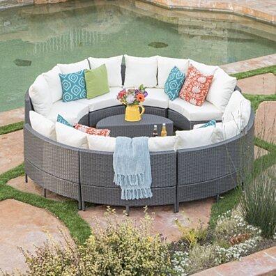 Alacati 10Pc Outdoor Wicker Sofa Set w/ Cushions