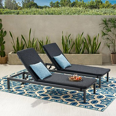 Mavis Outdoor Fabric Lounge Cushion (Set of 2)