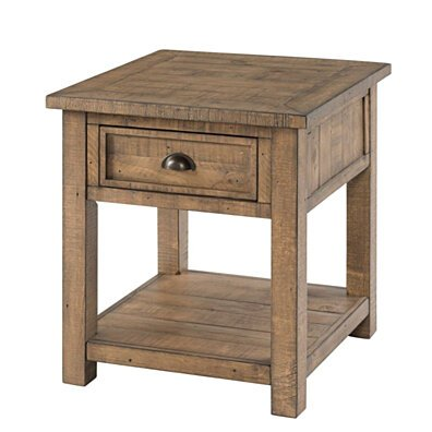 Coastal Style Square Wooden End Table with 1 Drawer, Brown