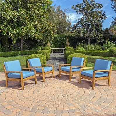 Parma Outdoor Acacia Wood Club Chairs with Cushions (Set of 4)
