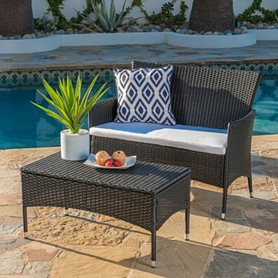 Montague Outdoor Wicker Loveseat and Coffee Table Set